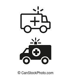 ambulance, blanc, arrière-plan., icônes