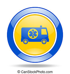 ambulance blue and yellow web glossy round icon