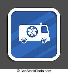 Ambulance blue flat design square web icon