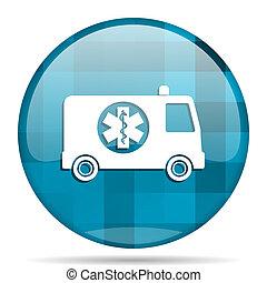 ambulance blue round modern design internet icon on white background