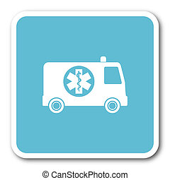 ambulance blue square internet flat design icon
