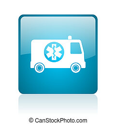 ambulance blue square web glossy icon