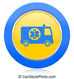 ambulance blue yellow icon