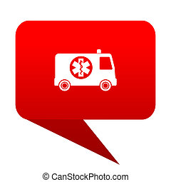 ambulance bubble red icon