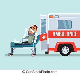 Ambulance car and broken victim man character. Vector flat...