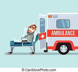 Ambulance car and broken victim man character. Vector flat...