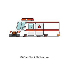 Ambulance car cartoon style. health care car vector illustration