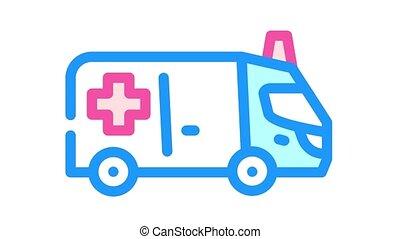 ambulance car color icon animation