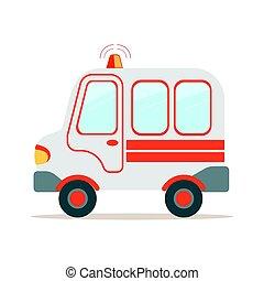 Ambulance car, emergency medical service vehicle colorful cartoon vector Illustration