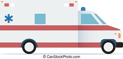 Ambulance car flat design icon. Vector illustration.