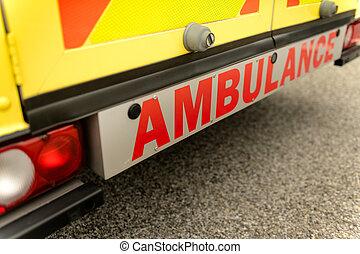Ambulance car from behind sign