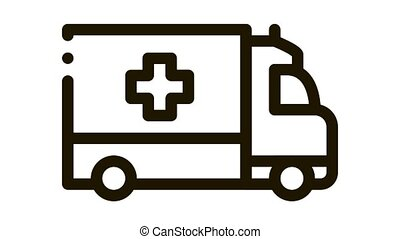 ambulance car Icon Animation. black ambulance car animated icon on white background