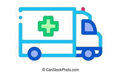 ambulance car Icon Animation. color ambulance car animated icon on white background