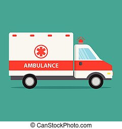 Ambulance car icon, flat design