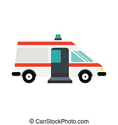 Ambulance car icon, flat style