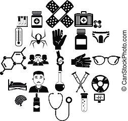 Ambulance car icons set, simple style - Ambulance car icons ...
