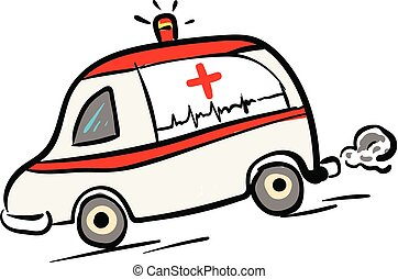 Ambulance car in rush illustration color vector on white ...