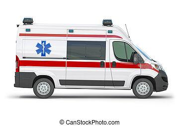 Ambulance car isolated on white.