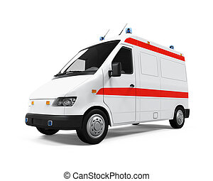 Ambulance Car isolated on white background. 3D render
