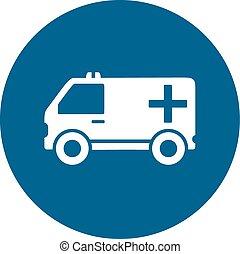 ambulance car on blue round icon