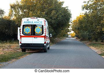 Ambulance car on road. Home call