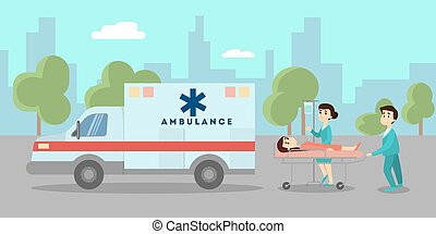Ambulance car on street.
