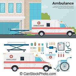 Ambulance car on the street in city