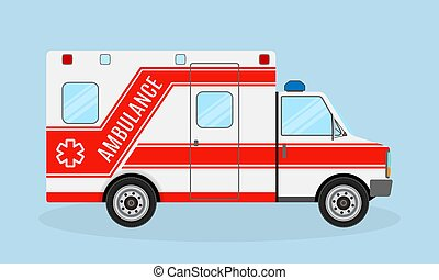 Ambulance car side view. Emergency medical service vehicle. Medicine paramedic transportation. Hospital transport.