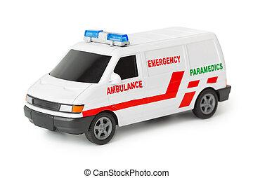 Ambulance car - Toy ambulance car isolated on white...