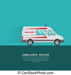 Ambulance car with a banner for the text. Resuscitation...
