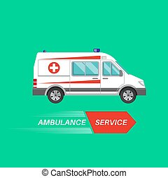 Ambulance car with a banner. Resuscitation vehicle. Car of...