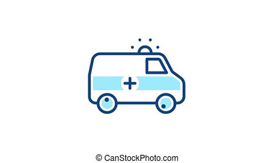 Ambulance car with siren linear icon. Emergency auto sign