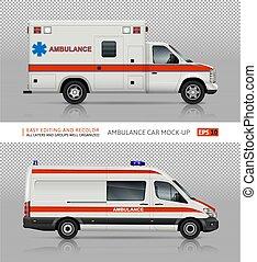 Ambulance cars vector mockup