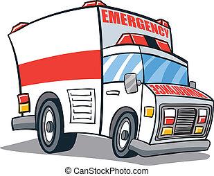 Cartoon illustrated ambulance emergency vehicle