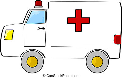 Cartoon illustration of a white ambulance with a red cross on its back