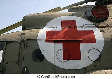Ambulance chopper, close up view