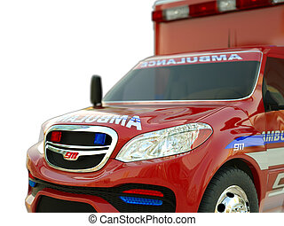Ambulance: Closeup view of emergency services vehicle on white