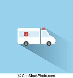 Ambulance color icon with shadow on a blue background