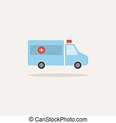 Ambulance color icon with shadow on a white background