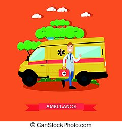 Ambulance concept vector illustration in flat style