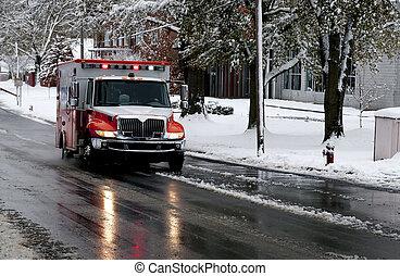 ambulance, dag, snedækkede