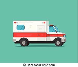 Ambulance emergency car vector illustration, flat cartoon medical vehicle auto isolated clipart