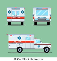 Ambulance Emergency Icon. Back, Front, Side View. -...