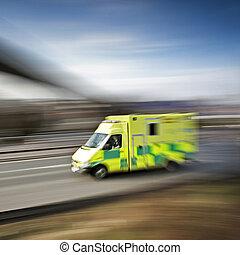 ambulance emergency response speeding along the motorway