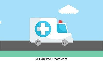 ambulance emergency transport car animation ,4k video animated