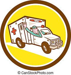 Ambulance Emergency Vehicle Cartoon - Illustration of an...
