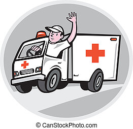 Illustration of an ambulance emergency vehicle with driver waving on road set inside oval shape on isolated background done in cartoon style.