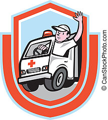 Ambulance Emergency Vehicle Driver Waving Shield Cartoon