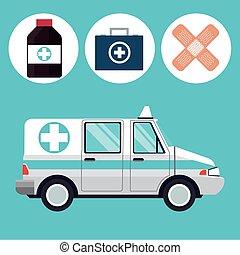 ambulance emergency vehicle medicine icons