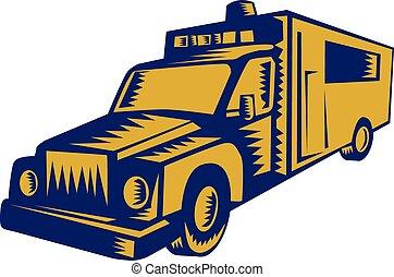Ambulance Emergency Vehicle Truck Woodcut